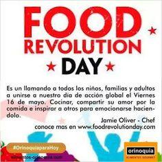 #OrinoquiaparaHoy celebra el #FoodRevolutionDay. Se trata principalmente de transmitir a los niños el valor de una alimentacion saludable. #FoodRevolutionDay es un dia de concientización creado por el Chef @Jamie Oliver puedes conocer mas de esta iniciativa visitando www.foodrevolutionday.com