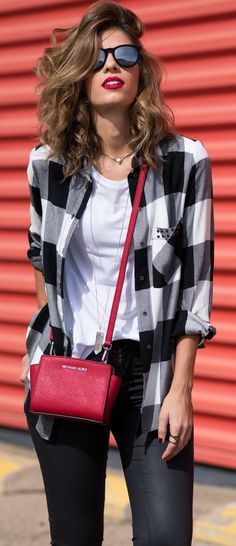 Checkered Button-up Fall Inspo #Fashionistas