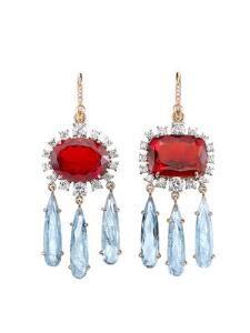 One-Of-A-Kind Fire Opal and Aquamarine Drop Earrings