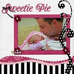 Sweetie pie - graphic pp, embellies, soft lines Baby Girl Scrapbook, Baby Scrapbook Pages, Kids Scrapbook, Scrapbook Page Layouts, Scrapbook Paper Crafts, Scrapbook Cards, Scrapbooking Ideas, Kiwi Lane Designs, Baby Album