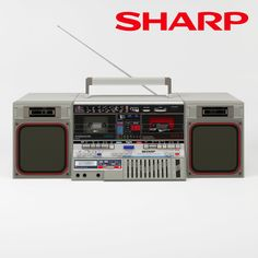 Sharp audio audio-device boombox cassete, available in MAX, OBJ, MTL, ready for animation and other projects 1980s Boombox, Transistor Radio, Tape Recorder, Record Players, Hifi Audio, Old Tv, Audio Equipment, Audio System, Takeshi's Castle