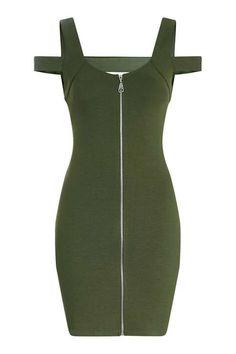 Zip Front Bardot Dress