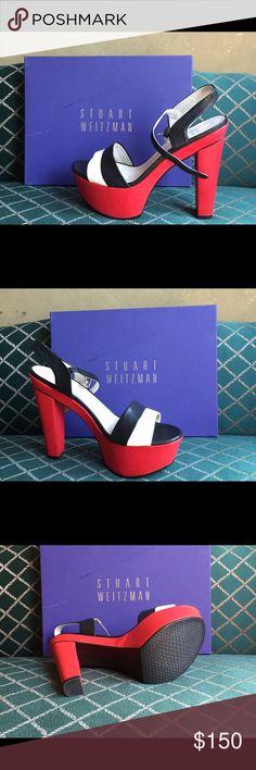 Stuart Weizmann platform sandals Beautiful, brand new platform sandals. Black/Red/White, perfect for the summer!! Stuart Weitzman Shoes Platforms