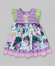 Gurly Bird b Mack & Co. Loving this Lilac Stripe Ruffle Angel-Sleeve Dress - Toddler & Girls on #zulily! #zulilyfinds