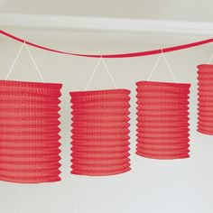 Red Paper Lantern Garland from Windy City Novelties Star Decorations, Patriotic Decorations, Christmas Decorations, Garland Decoration, Hanging Decorations, Party Bunting, Party Garland, Hanging Lanterns, Paper Lanterns