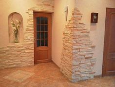 Ideas For Exterior Stone Wall Design House Home Stairs Design, Interior Stairs, Apartment Interior, Stone Interior, Stone Fireplace Wall, Wall Fireplaces, Stone Fireplaces, Stacked Stone Walls, Stacked Stones