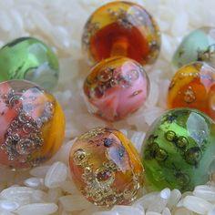 Bubbling Lampwork Glass Beads Soft Sprig Fashion by CandanImrak, $30.00