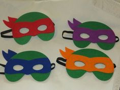 Teenage Mutant Ninja Turtle masks!  Comfortable to wear, made out of soft felt. Sturdy and durable. Stretchy elastic loops around the head and makes the masks one size fits most toddlers to kids.  Ask me about a discount when purchasing multiple masks