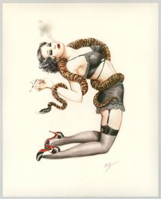 "Maly Siri - Pin-up Art Illustration originale intitulée ""A charming Satisfaction"""