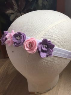 Elegant simple Felt Flower Crown. Lovingly handmade felt flower headband.  Made from 100% wool felt and elastic. Delicately sewn and beaded by hand.  Made to measure, please be sure to measure and select the correct size.   Great for children as very soft to skin.