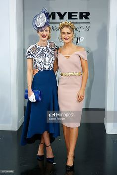 Fashions on the Field National Final winner Courtney Moore poses with Steph Smith at the Myer Fashions on the Field Marquee on Crown Oaks Day at Flemington Racecourse on November 2016 in. Get premium, high resolution news photos at Getty Images Ladies Day Outfits, Race Day Outfits, Derby Outfits, Races Outfit, Race Day Fashion, Races Fashion, Fashion Outfits, Tea Party Attire, Tea Party Outfits