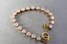 Catherine Popesco  FRANCE Gold Plated Pink Opal Swarovski Crystals Bracelet #CatherinePopesco #Tennis