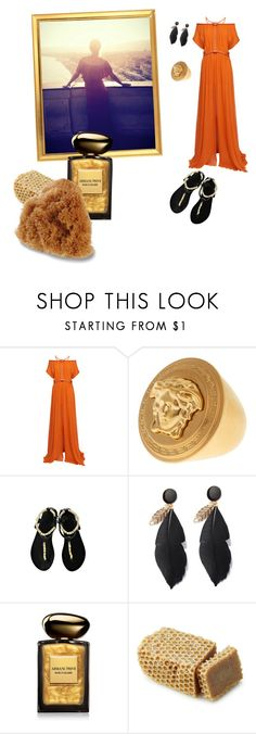 """Nice in the afternoon"" by alpolia ❤ liked on Polyvore featuring Jay Ahr, Versace, Ancient Greek Sandals, Giorgio Armani and Urban Spa"