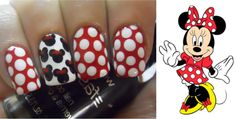 Minnie Mouse manicure i Had to pin this Really Cute Nails, Pretty Toe Nails, Great Nails, Cute Nail Art, Love Nails, How To Do Nails, Fun Nails, Amazing Nails, Pretty Toes