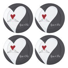 You + Me - Cute White Doves in Love Rustic Pretty Button Covers - Symbolic Bird Design #giftforher