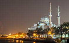 Lataa kuva Al Noorin Moskeija, Sharjah, Yhdistyneet Arabiemiirikunnat, yö, valot, kaunis moskeija, Ottomaanien arkkitehtuuri, minareetteja
