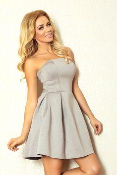 Rozkloszowana gorsetowa sukienka z pianki szara