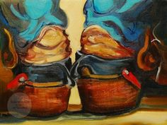 ARTOUTWEST DAILY PAINTING SEPTEMBER 22 COWBOY BOOTS WESTERN OIL PAINTING, painting by artist Diane Whitehead