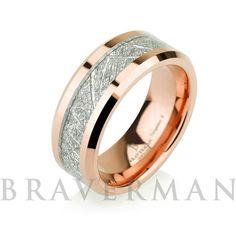Rose Gold Mens Meteorite Wedding Band Meteorite by BravermanOren