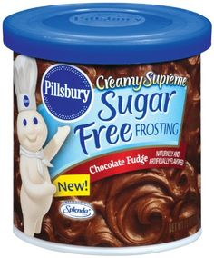 Pillsbury Creamy Supreme Sugar Free Chocolate Fudge Flavor Frosting, (Pack of * Details can be found by clicking on the image. Sugar Free Cake Mix Recipe, Sugar Free Frosting, Sugar Free Fudge, Sugar Free Brownies, Canned Frosting, Sugar Cookie Icing, Sugar Free Desserts, Sugar Free Chocolate, Fudge Flavors