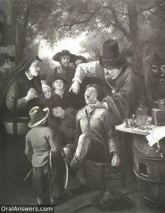 Dentista holandés extrayendo un diente a un muchacho al cual ahan amarrado
