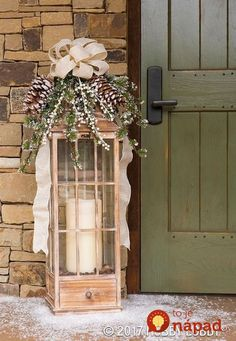 40 Stunning Rustic Christmas Decor Ideas And Makeover – 10 – The Best DIY Outdoor Christmas Decor Christmas Picks, Christmas Porch, Christmas Design, Country Christmas, Winter Christmas, Christmas Crafts, Christmas Movies, Christmas Lanterns, Outdoor Christmas Decorations