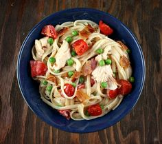 A lightened up recipe of Chicken Alfredo that is reminiscent of the famous, creamy dish. This version is much lower in fat. Many photographs included.