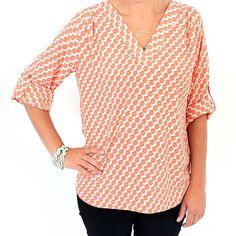 Tab Sleeve Top with Pattern #StitchFix