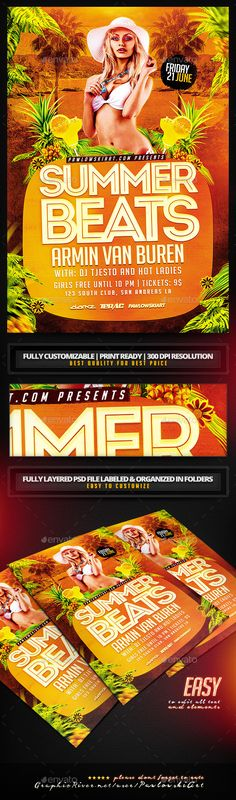 Summer Beats Party Flyer Template - Clubs & Parties Events