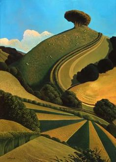 A wonderful collection of fine art limited edition prints by artist Jo March. Jo has a wonderfully playful and imaginative perspective of landscape. Landscape Art, Landscape Paintings, Green Landscape, Illustration Art, Illustrations, Weird Dreams, Naive Art, Art Graphique, Art Inspo