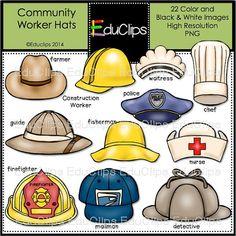 Community Worker Hats Clip Art Bundle