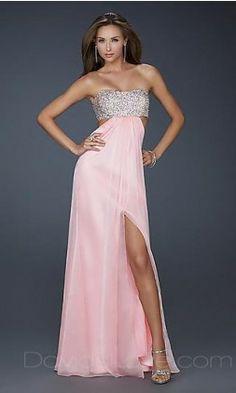 Column Strapless Long Chiffon Prom Dress 159.99