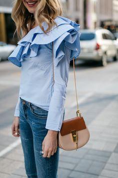 Spring Outfit, One Shoulder Ruffle Sleeve Top, Denim Ripped Skinny Jeans, Chloe Drew Handbag