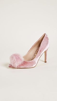 Velvet Pumps with Pom Poms