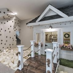 Indoor Mini House with Mini Rock Climbing Wall by Ashley Webb Interiors This is. - Indoor Mini House with Mini Rock Climbing Wall by Ashley Webb Interiors This is such a fun idea fo - Playroom Design, Kids Room Design, Playroom Decor, Kids Decor, Boys Playroom Ideas, Garage Playroom, Indoor Playroom, Small Playroom, Awesome Bedrooms