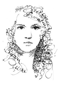 Calligraphy Portraits :Vlada Shamova The way that the words blend in to make it also her hair while having words around it having two meanings to the picture is incredible. Typography Portrait, Typography Art, Calligraphy Art, Text Portrait, Poesia Visual, Ap Studio Art, Book Letters, Art Studios, Word Art
