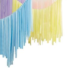Pastel Streamer Ceiling Decoration | Party Decorations | Pretty Party Shop – The Original Party Bag Company Streamer Backdrop, Crepe Paper Streamers, Ceiling Streamers, Balloon Ceiling, Ceiling Decor, Balloon Garland, Perfect Selfie, Pastel Colors, Pastel Yellow