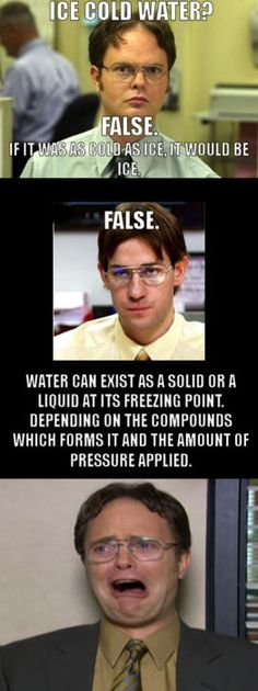 YES!!!!!!!!!!!!!!  Every time I saw the top meme, I thought exactly what Jim/Dwight says in the second bit.  Thank you for bringing us accurate science!