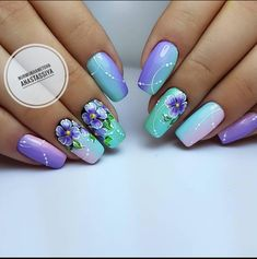 27 New Nail Designs From 2018 for You to Do at Home! 27 New Nail Designs From 2018 for You to Do at Flower Nail Designs, New Nail Designs, Flower Nail Art, Fancy Nails, Cute Nails, Uñas One Stroke, Hair And Nails, My Nails, Spring Nail Art