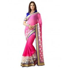 Pink Georgette and Net #Designer #Saree With #Blouse #Fashion Buy Now