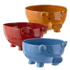 Grasslands Road Pig Bowl Assortment, Set of 3 This Little Piggy, Little Pigs, Pig Kitchen Decor, Kitchen Dining, Kitchen Stuff, Piggly Wiggly, Pig Art, Cute Piggies, Fruit Dishes