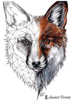 Half geometric, half realistic fox by Laurenes-Portraits