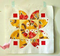Autumn Lotus Quilt Block | FaveQuilts.com