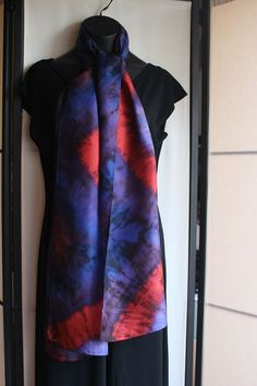 14x72 blue and red silk scarf 23 by Diotimas on Etsy