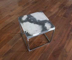 "Concrete Cowhide Side Table 18.5"" Tall End Table, Coffee Table / Minimalist…"