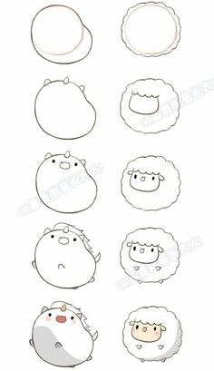 tutorial on drawing a chick and a sheep. #sketch # drawing tutorial # drawing