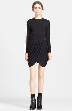Free shipping and returns on A.L.C. 'Tolan' Drape Skirt Dress at Nordstrom.com. Draped, crossover fabric at the front lends supple dimension and a mock two-piece look to a lean black dress detailed with sporty racing stripes along the long sleeves.
