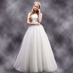 Fancy Strapless natural waist tulle wedding dress with chapel train  Read More:     http://www.weddingsred.com/index.php?r=fancy-strapless-natural-waist-tulle-wedding-dress-with-chapel-train.html