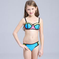 Brand 2016 hot sale Hit color stitching swimsuit For baby Girl children beach Bikini Set two pieces Kids Swimming suit biquini