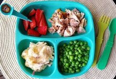 Dinner: strawberries with @pickease (this little guy is so cute - he's definitely one of my favorite of many characters that Pick-Ease offers) + chopped chicken / mashed red potatoes / peas.  #bigbossledweaning #bigbossbites #blw #babyledweaning #blwideas #blwmeals #17months #1yearold #Eeeeats #toddlerbites #toddlerfood #rainbowoffoods #homemadefood #familymealideas #kids #kidsfood #weaning #baby #dinner #replayrecycled #pickease #pickeasefun #pickeaseplease #funwithfood #yum
